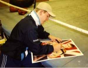 Ricky Hatton Signing in the Gym for Ken Mills of WritestuffAutographs of Lancaster.