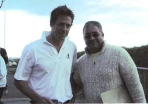 Hugh Grant with Ken Mills of Writestuff Autographs of Lancaster