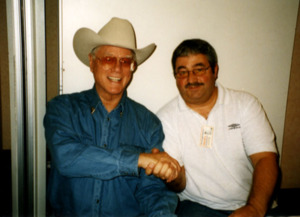 Larry Hagman a.k.a J.R Ewing with Ken Mills of Writestuff Autographs of Lancaster.